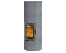 Maestro 2 con sportello grigio stufe a legna in pietra ollare con accumulo
