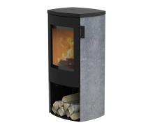 Mondo 3S senza sportello con top in ghisa e maniglia modern stufe a legna in acciaio con rivestimento in pietra ollare