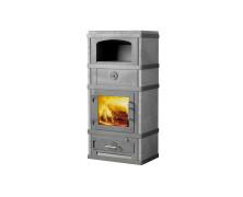 2280 grigia stufe a legna con forno in acciaio con rivestimento in pietra ollare
