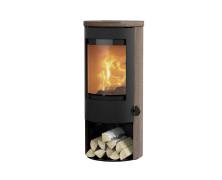 Prestige Basic W nera stufe a legna in acciaio con rivestimento in wengé